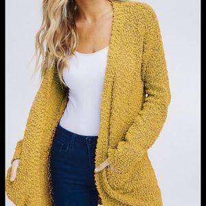 Umgee mustard popcorn open cardigan sweater L